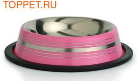 Beeztees Миска стальная нескользящая, розовая в полоску 11см