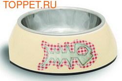 Beeztees Миска Miauw 2в1 для кошек бежевая 14х4,5см