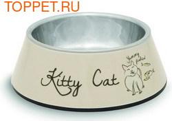 Beeztees Миска Kitty 2в1 для кошек 14х4,5см/160мл (фото)