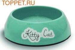 Beeztees Миска Kitty для кошек меламин нескользящая голубая 14х4,5см