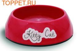 Beeztees Миска Kitty для кошек меламин нескользящая красная 14х4,5см
