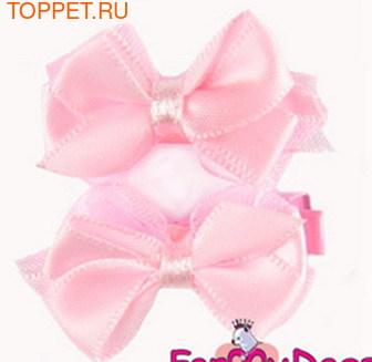 """ForMyDogs Зажим для собак """"Бантик"""" светло-розовый, 3,5см, шелк"""