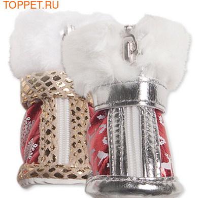 I's Pet Ботинки для собак зимние, цвет красный/золото, размер №3 (фото)