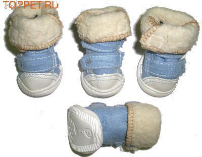I's Pet Ботиночки для собак зимние меховые, цвет голубой, размер №1