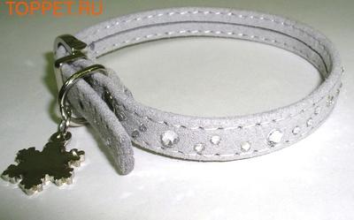 """ForMyDogs Ошейник для собак """"Снежинка"""" с медальоном серый, размер 1,0х26см"""