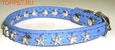 """ForMyDogs Ошейник для собак серия """"STAR"""" голубой, размер 1,0х21см"""