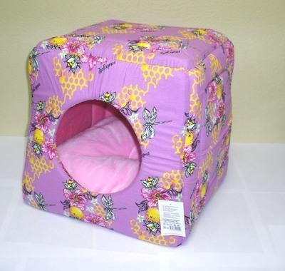 Зооэкспресс Домик Куб-трансформер для собак и кошек, поплин и плюш 42*42*40см (фото)