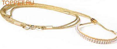 Ринговка для выставки, цвет золотой с кристаллами. Длина 1,2м, толщина 3мм