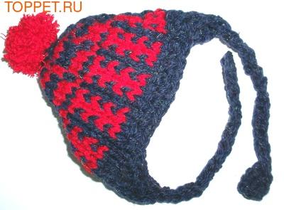 Шапочка сине/красная вязанная, размер S