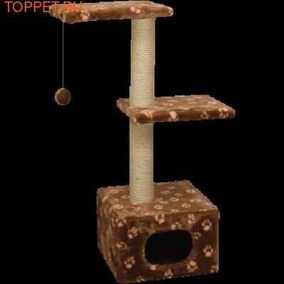 ЗООНИК Домик-когтеточка с 2-мя площадками (мех) 40*36*98см (фото)