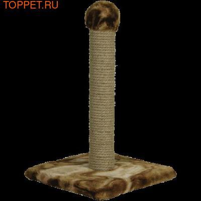 ЗООНИК Когтеточка-столб на подставке (мех), 34*34*55см