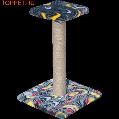 ЗООНИК Когтеточка-столб с полочкой (мех), 34*34*54см