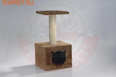 Beeztees Домик-когтеточка с площадкой 30*30*60см