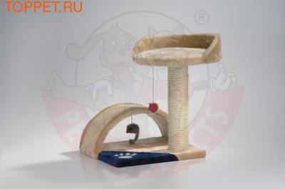 Beeztees Когтеточка мостики столбик с местом, бежево-голубоватый 36*35*44см