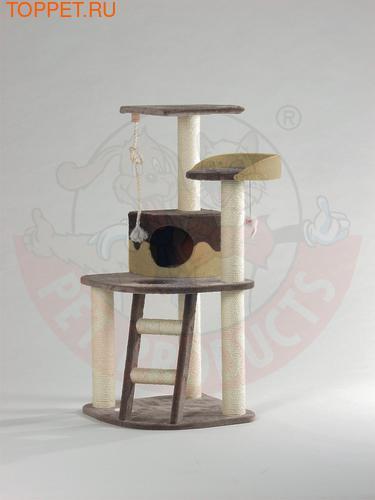 """Beeztees Комплекс для кошек Дом """"Smarty"""" угловой с 3 полками, лестницей и канатом 55*55*120см"""