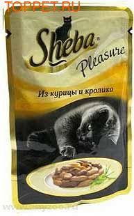 Шеба Pleasure пауч для кошек Курица/Кролик 85гх24шт