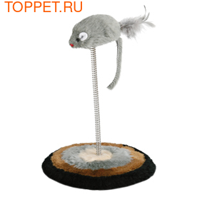 """Beeztees Игрушка для кошек """"Мышь меховая на пружине"""" с мягкой подставкой 14,5*28см"""
