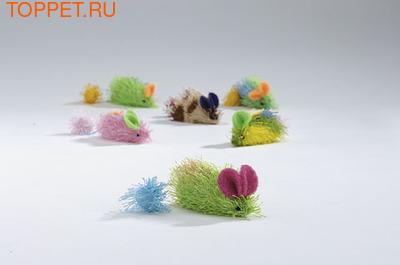 """Beeztees Игрушка для кошек """"Мышь"""" разноцветная 6,5см"""