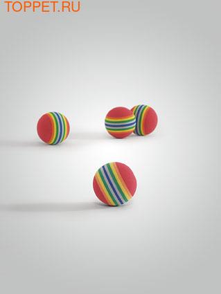 """Beeztees Игрушка для кошек Мяч мягкий полосатый """"Люкс"""" 4см 4шт"""