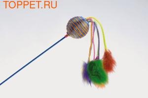 Beeztees Игрушка для кошек Дразнилка с шариком и с 6 помпонами 60см