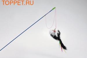 Beeztees Игрушка для кошек Удочка с меховой мышкой и перьями малая 46см