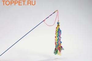 Beeztees Игрушка для кошек Удочка 6 вельветовых хвостиков с перьями 46см