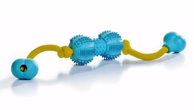 """Beeztees Игрушка для собак """"Гантель шипованная на веревке"""" д/ухода за зубами, резина, голубая, 9см"""