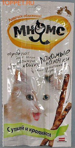 МНЯМС Лакомые палочки для кошек с уткой и кроликом 13,5 см, 3 х 5 гр.