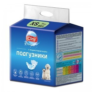 Cliny Подгузники для собак и кошек XS 2-4кг 11шт