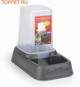 Beeztees Миска-дозатор для корма или воды, пластиковая антрацитовая 33,5*20*27см
