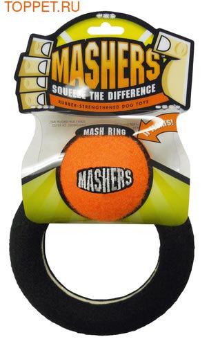 """R2P Игрушка для собак Masher """"Кольцо с мячиком"""", вспененная резина с покрытием теннисного мяча,15 см"""