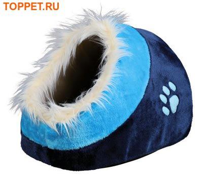 "TRIXIE  Лежак-пещера ""Minou"", размер 35х26х41 см, цвет синий/голубой, материал плюш"