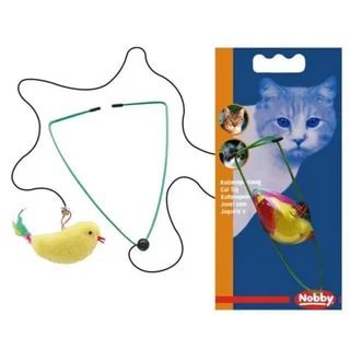 Nobby Игрушка для кошек Птичка на резинке, мех, перья