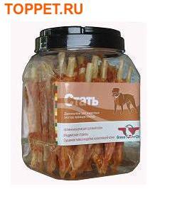 Green Qzin Лакомство для собак Стать 2 сушеное мясо страуса на воловьей коже 750г