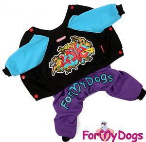 ForMyDogs Костюм для собак из высококачественного трикотажа черный/фиолетовый, модель универсальная, размер 8