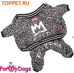 """ForMyDogs Костюм для собак """"Леопард"""" из мягкого трикотажа без капюшона, черный, размер №12, №14"""