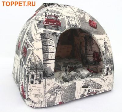 """Бобровый дворик Домик лежак для кошек и собак, расцветка """"Город"""""""
