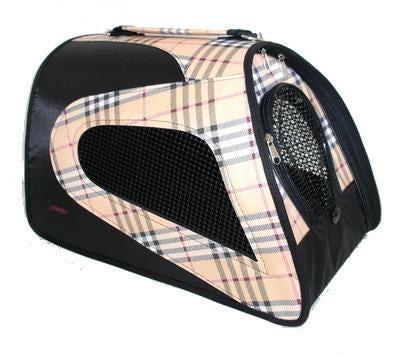 DOGMAN Сумка для собак и кошек Фантазия черная/ бежевая шотландка №2 (фото)