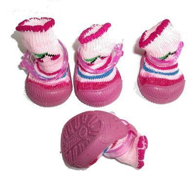 Ботиночки-носочки для собак на резиновой подошве, розовый, №4 (фото)