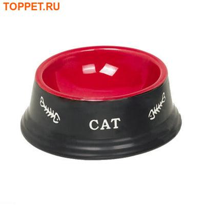 Nobby Миска керамическая красно/черная с рисунком Cat 14х4,8см
