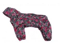 ZooAvtoritet Дождевик Дутик для средних пород собак, серо/малиновый, мембрана, 2XL, спина 44см