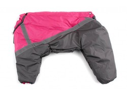ZooPrestige Комбинезон утепленный для собак, серый/розовый, размер 3XL, спина 44см