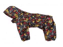 ZooAvtoritet Дождевик для средних пород собак Дутик, черный/стрелки, размер 2XL, спина 44см