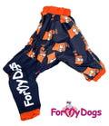 """ForMyDogs Дождевик для средних и больших пород собак """"Симпсоны"""" синий, модель для мальчиков, размер А3, С3"""