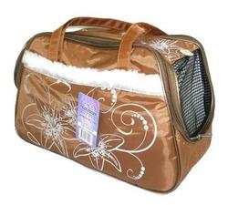 DOGMAN Сумка -переноска для собак модельная №7М с мехом, кирпичная/кристаллы, 40х19х25см