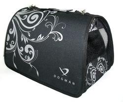 DOGMAN Сумка -переноска для собак и кошек Лира №4М, меховая, черная, 48х30х30см
