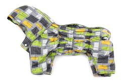ZooPrestige Комбинезон для средних пород собак Дутик, флис, спина 36-40см, цвет серый/салатовый орнамент, размер XL