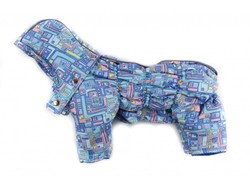 ZooPrestige Комбинезон для собак Дутик, голубой/орнамент, размер XL, спина 36-40см