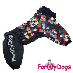 """ForMyDogs Комбинезон для больших собак """"Цветы"""", черный, модель для девочек, размер D2 на флисе"""