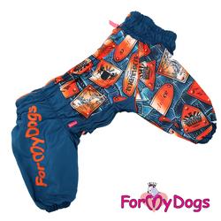ForMyDogs Комбинезон для крупных собак синий/оранжевый на меховой подкладке, модель для мальчиков, размер С2, D3